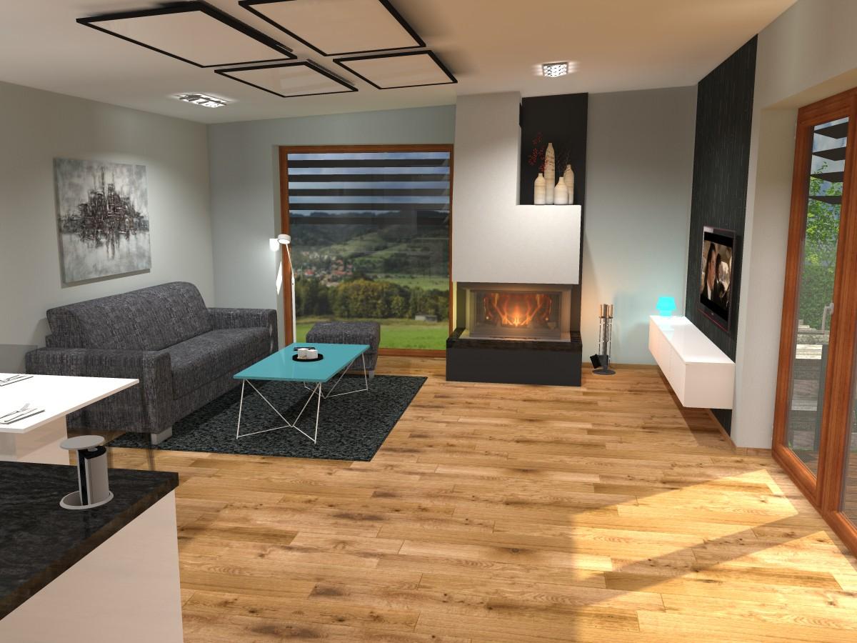 01 3D návrh vizualizace kuchyně obývací pokoj jídelna knihovna