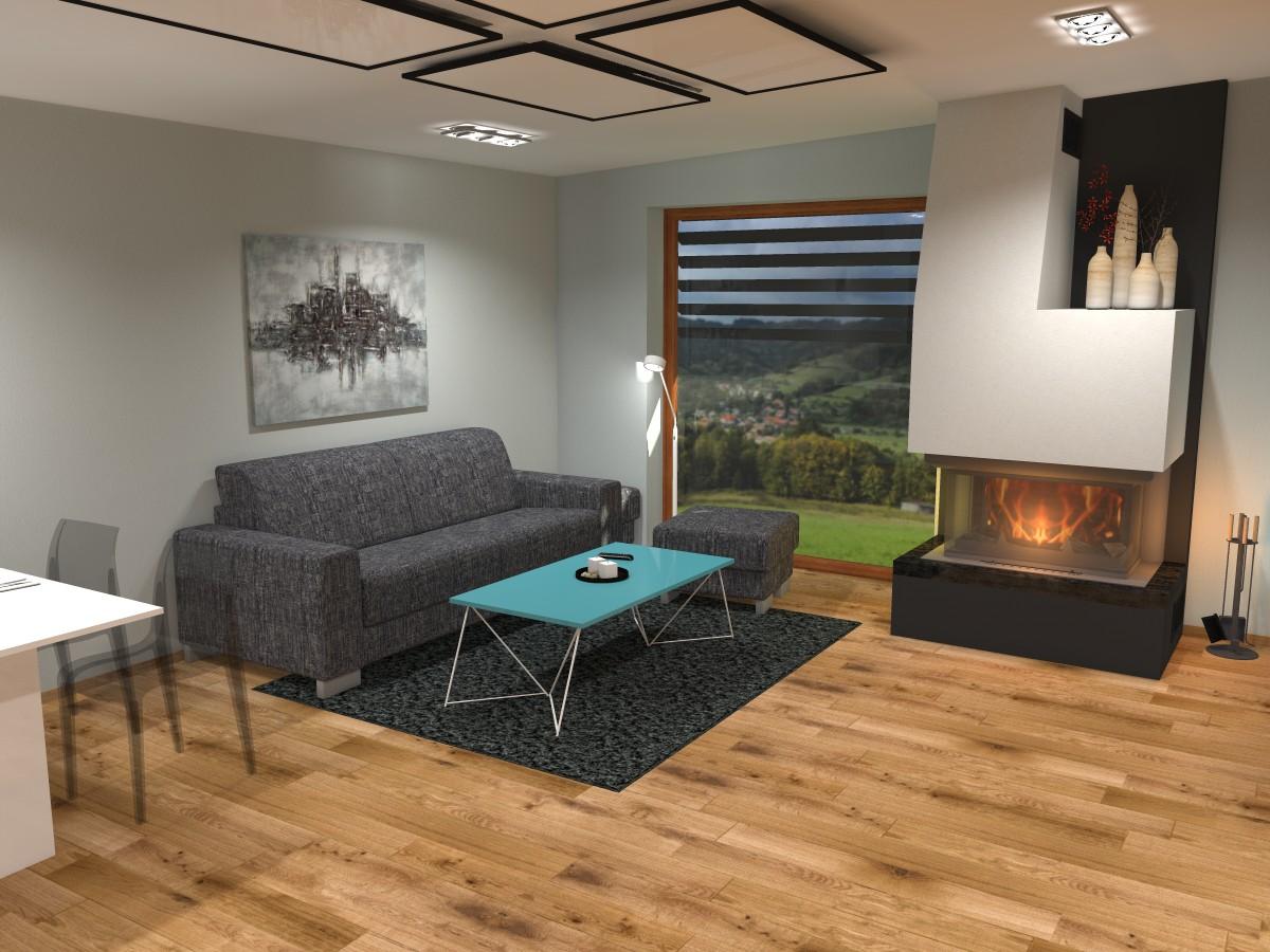 02 3D návrh vizualizace kuchyně obývací pokoj jídelna knihovna