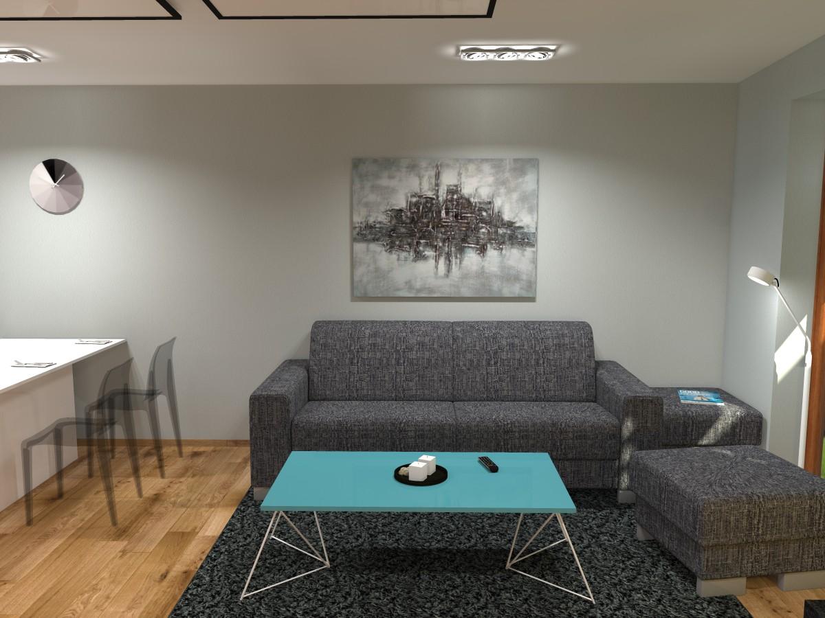 03 3D návrh vizualizace kuchyně obývací pokoj jídelna knihovna