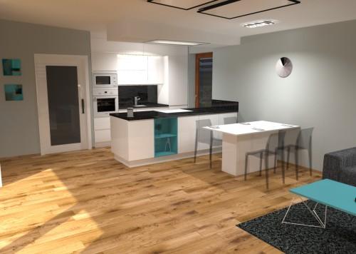 04 3D návrh vizualizace kuchyně obývací pokoj jídelna knihovna