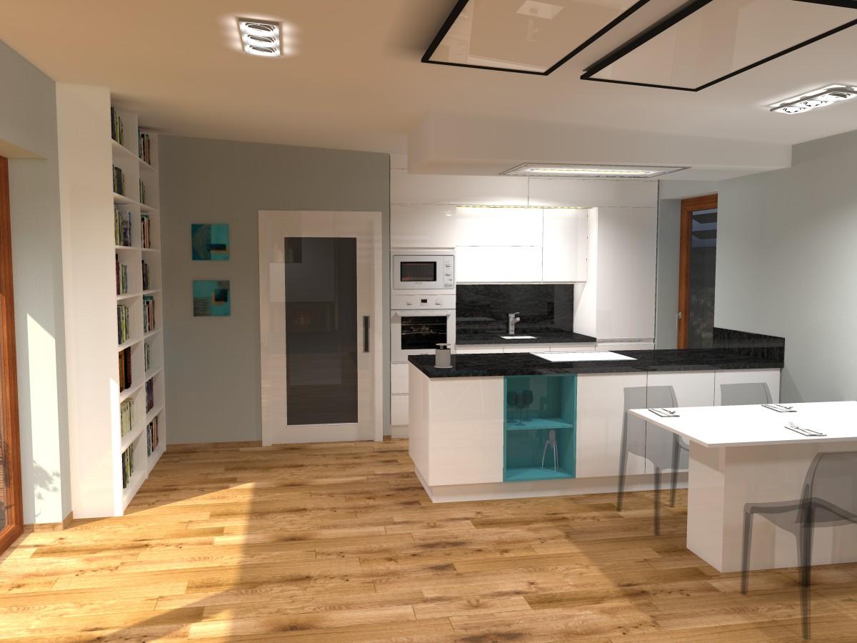 05 3D návrh vizualizace kuchyně obývací pokoj jídelna knihovna