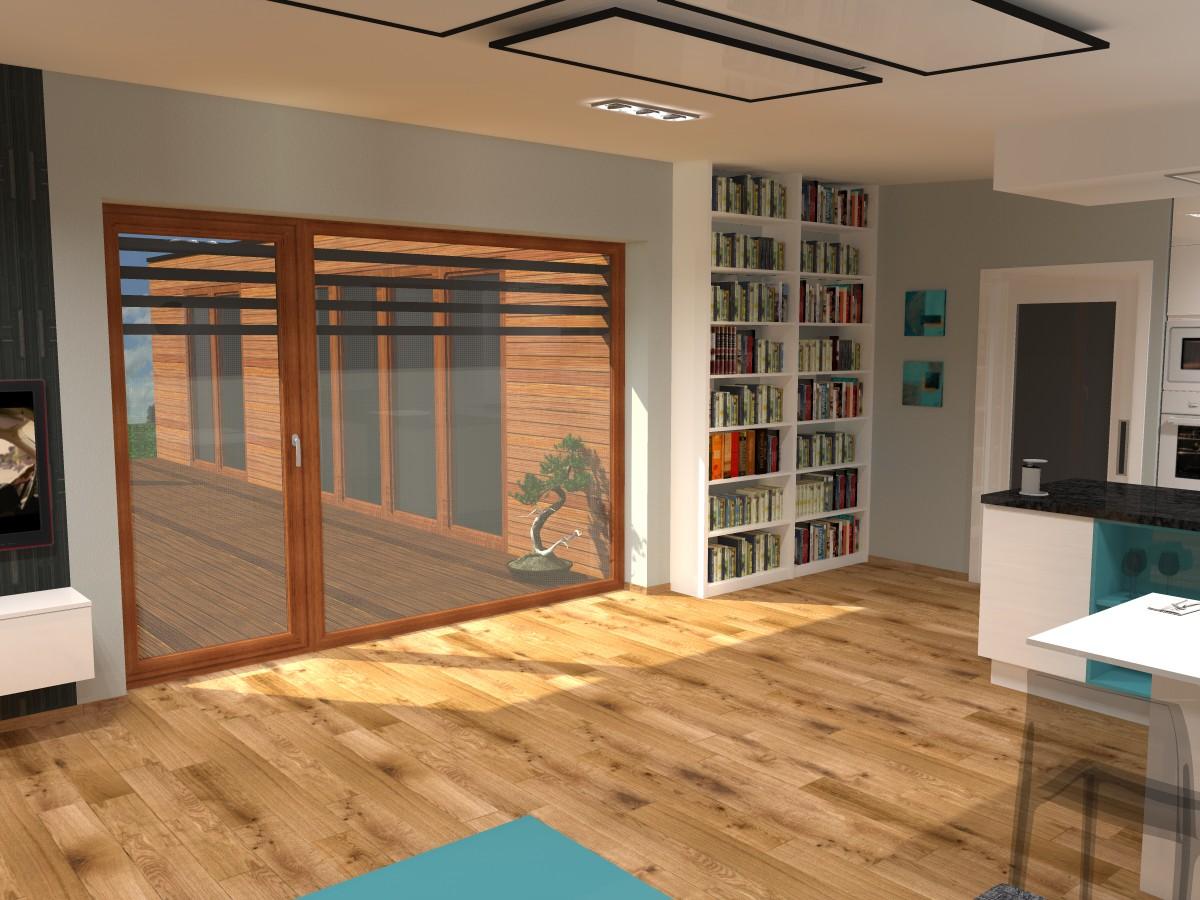 06 3D návrh vizualizace kuchyně obývací pokoj jídelna knihovna