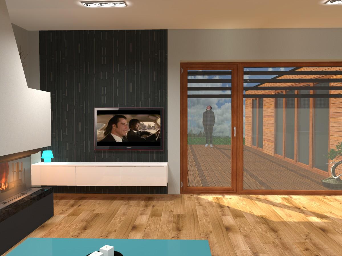 07 3D návrh vizualizace kuchyně obývací pokoj jídelna knihovna