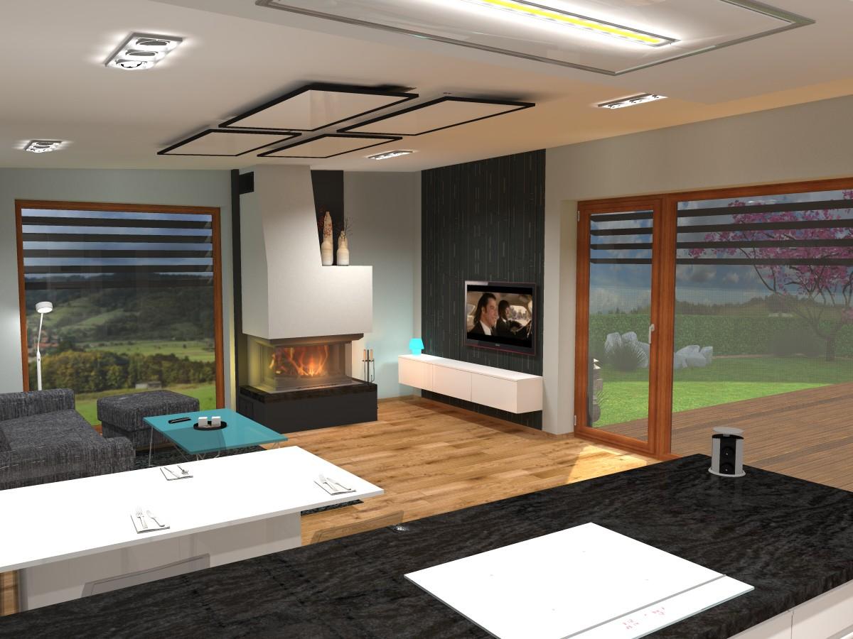 08 3D návrh vizualizace kuchyně obývací pokoj jídelna knihovna