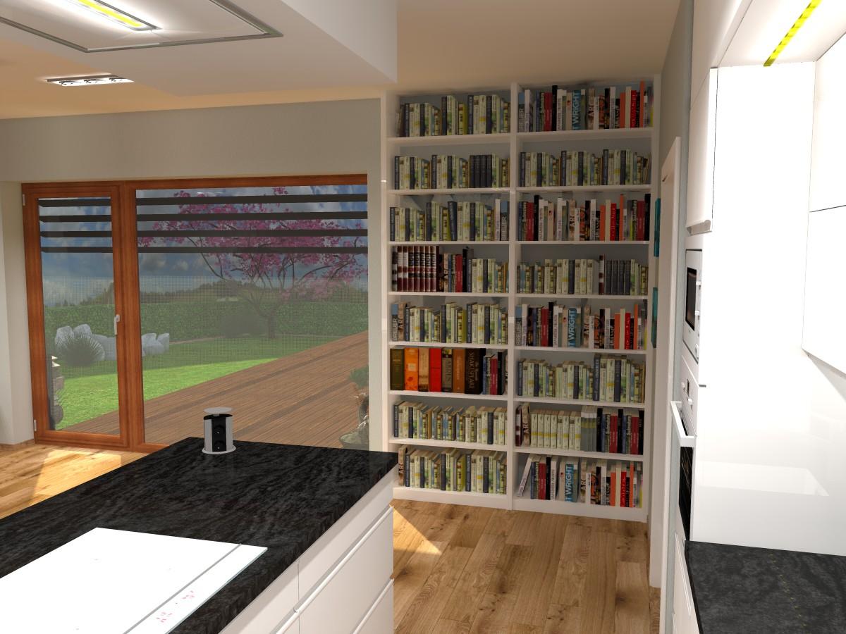 09 3D návrh vizualizace kuchyně obývací pokoj jídelna knihovna