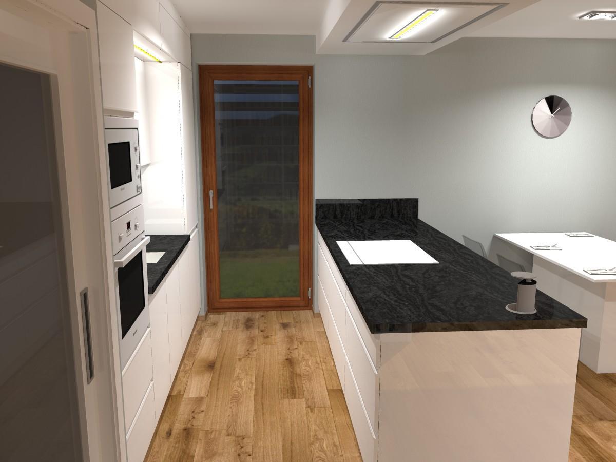 11 3D návrh vizualizace kuchyně obývací pokoj jídelna knihovna