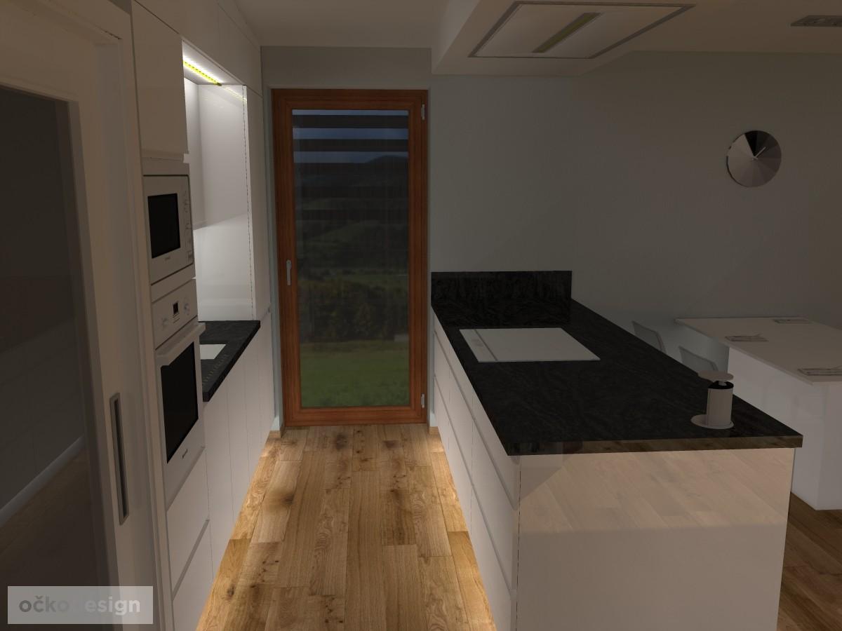 12 3D návrh vizualizace kuchyně obývací pokoj jídelna knihovna