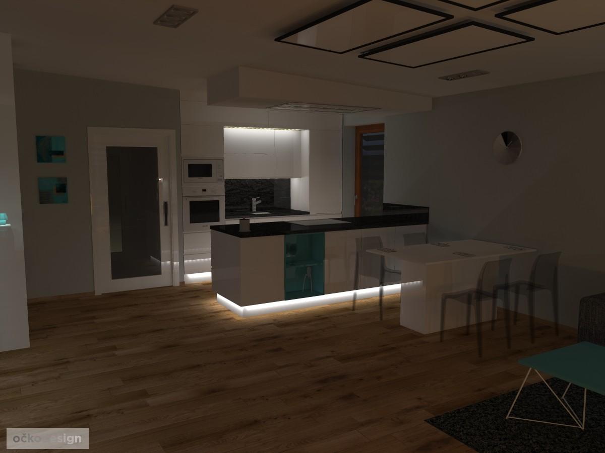 13 3D návrh vizualizace kuchyně obývací pokoj jídelna knihovna