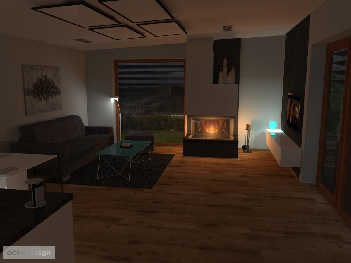 14 3D návrh vizualizace kuchyně obývací pokoj jídelna knihovna