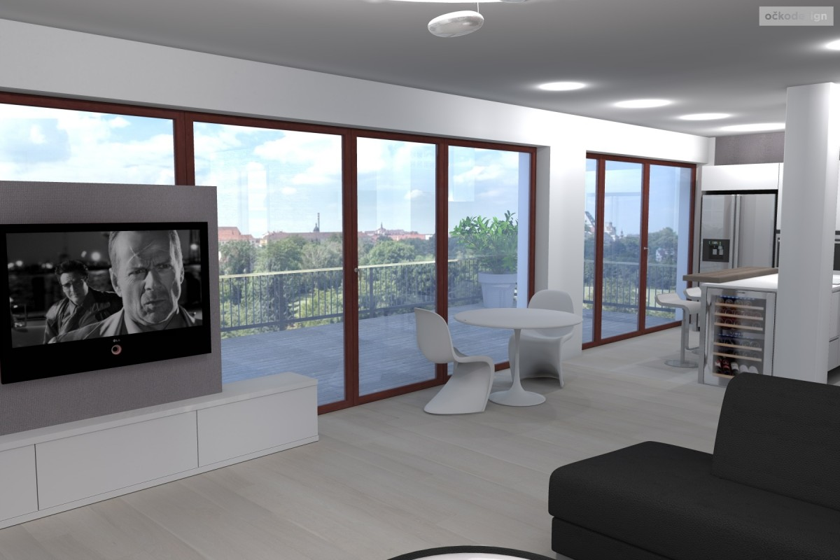 designová kuchyň,moderní obývák, rezidence wellnerova švýcarská 12