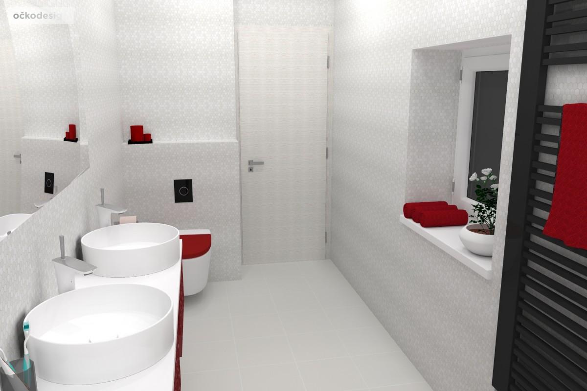 Petr Molek, designer,designové koupelny,červené doplňky,mozaika, koupelna podkroví, designová koupelna,design bathroom, rezidence,wellnerova švýcarská pražská Olmouc4