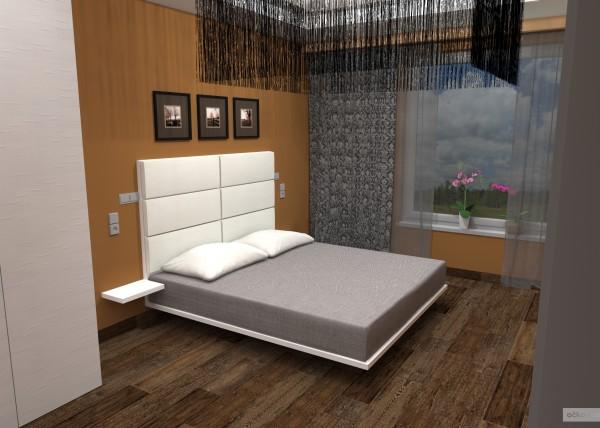 1 designová moderní minimalistická ložnice hnědá bílá vysoký lesk petr molek ockodesign bytovy designer architekt 3d navrh rezidence