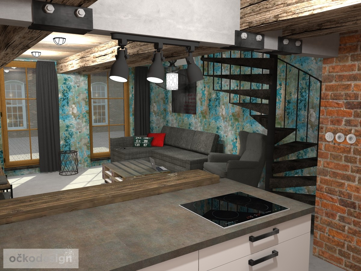 loftové byty, industriální styl,3d návrhy,Petr Molek, Bytový architekt Praha 3