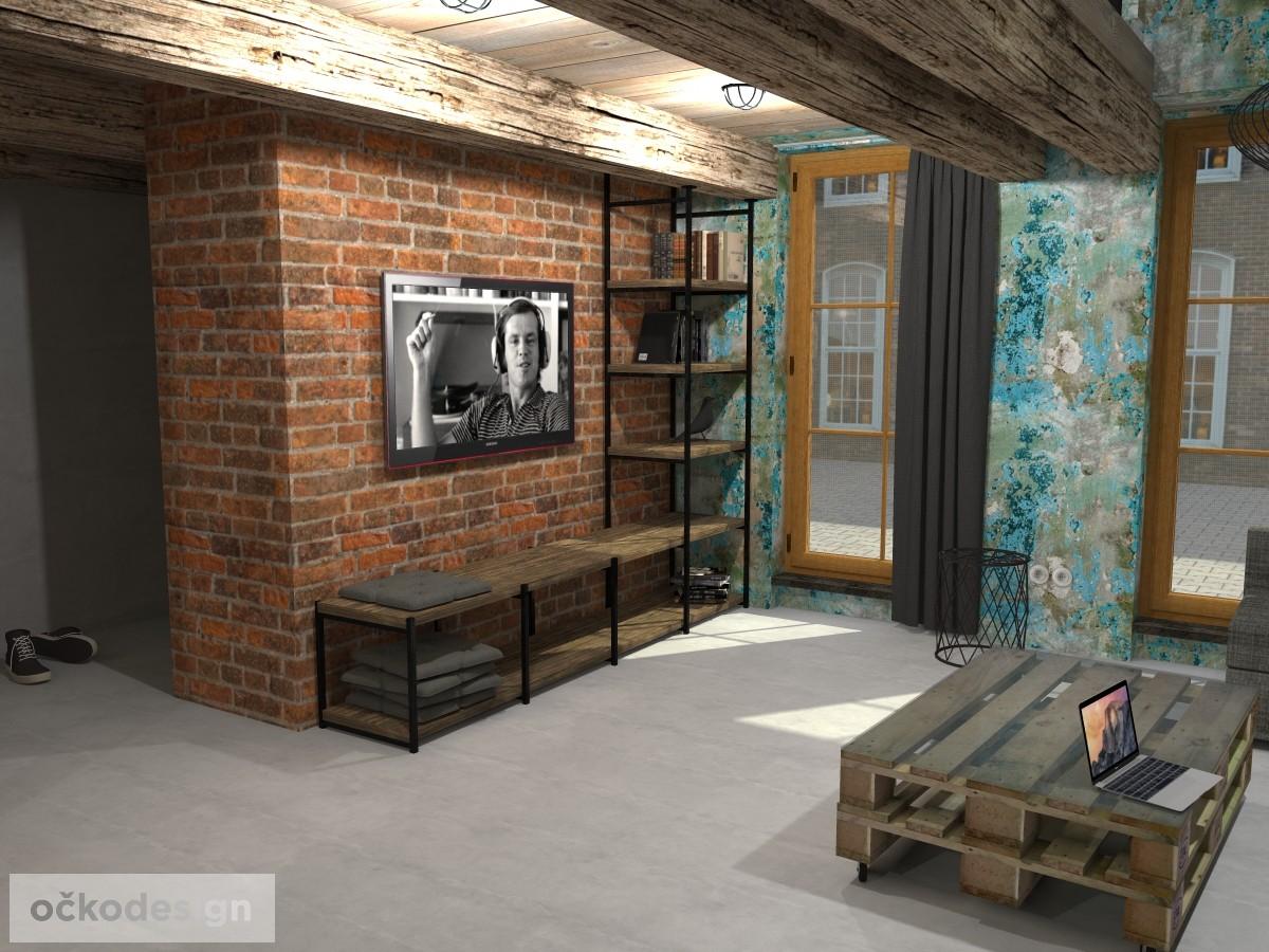 loftové byty, industriální styl,3d návrhy,Petr Molek, Bytový architekt Praha 5