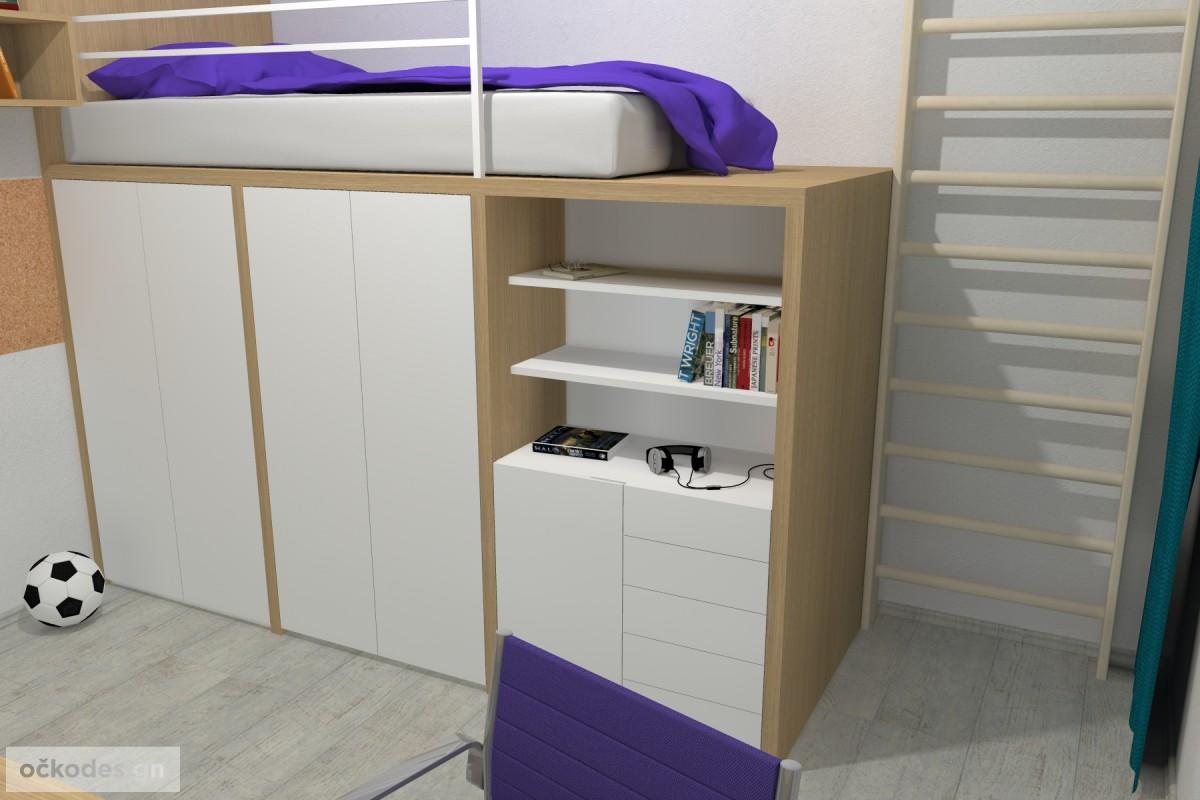 05 3D návrhy dětských pokojů-krásné studentské pokojíky-dětský pokoj-petr molek-ockodesign