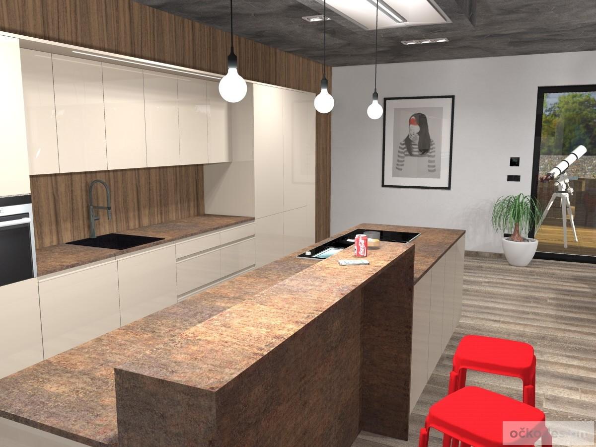 Zvýšený kuchyňský bar na posezení s přátely