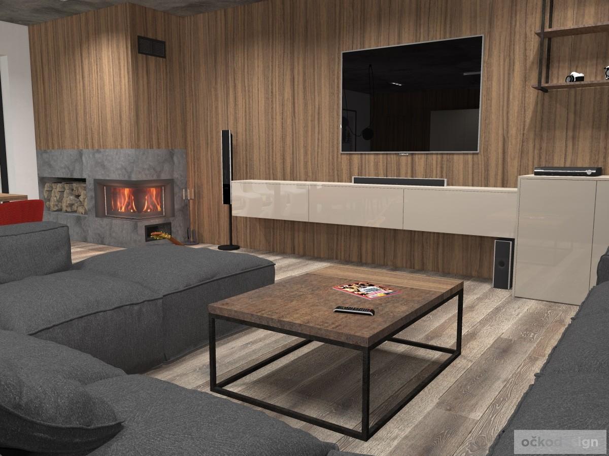 Stěna za TV je obložena ořechovými panely