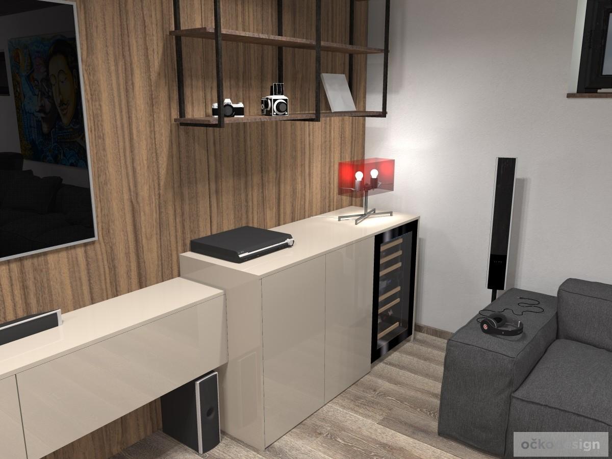 Vinotéka v obývacím pokoji nejen zdobí, ale i slouží