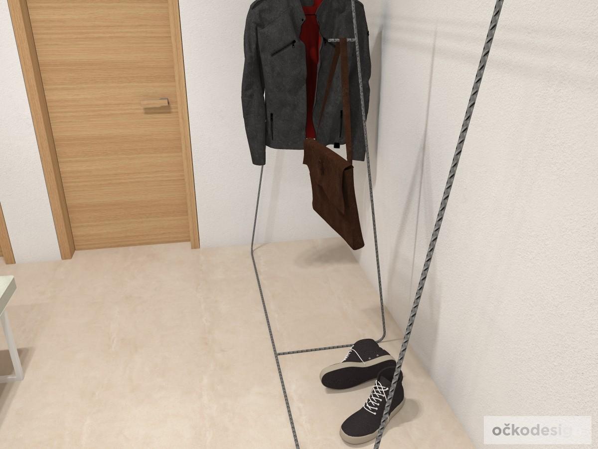 interiérový ramínkový věšák, designový věšák, věšák do ložnice i předsíně