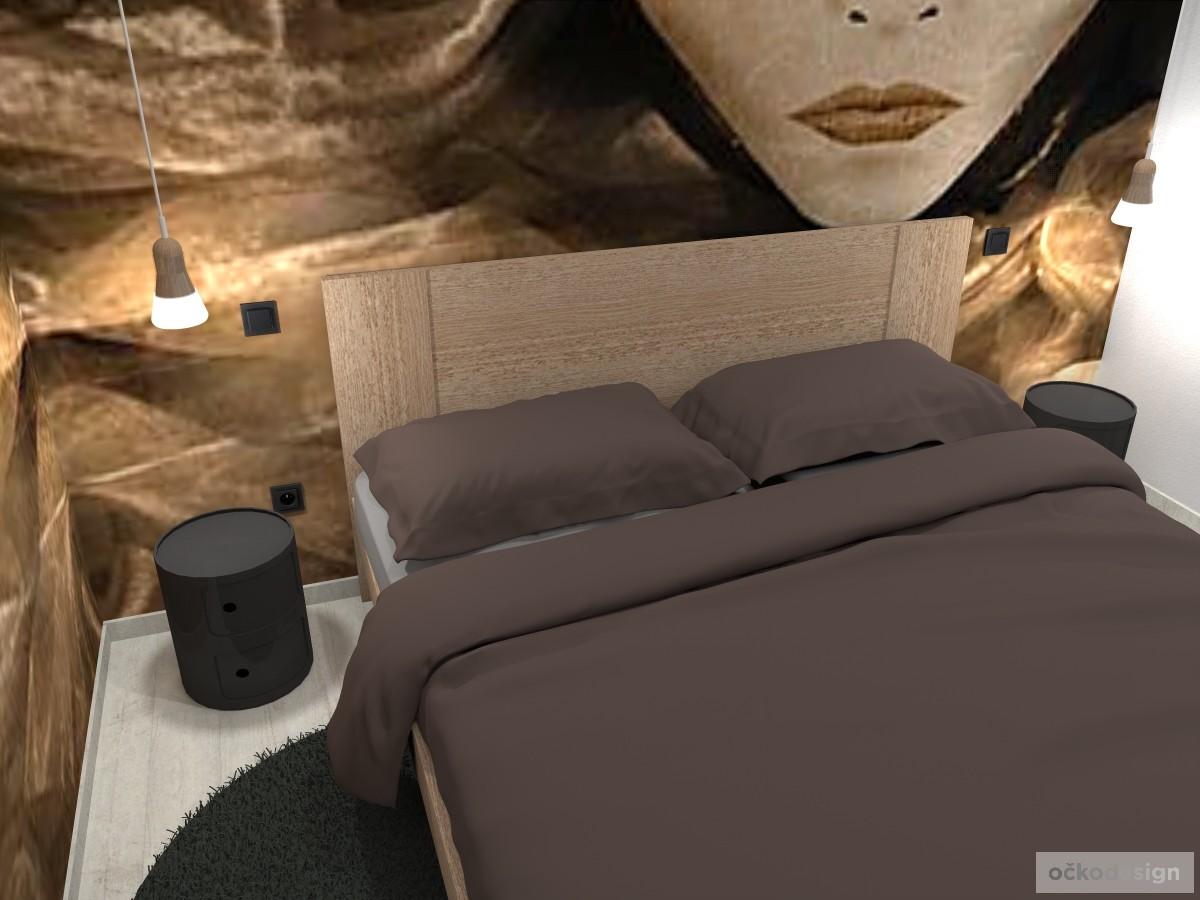 designové návrhy interiérů, Petr Molek, bytový designer, interiérový architekt, designová ložnice, ložnice s šatnou, ložnice vysoké stropy