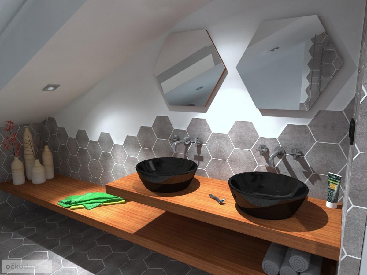 designové koupelny,moderní koupelna,rekonstrukce podkroví, bytový interiérový architekt
