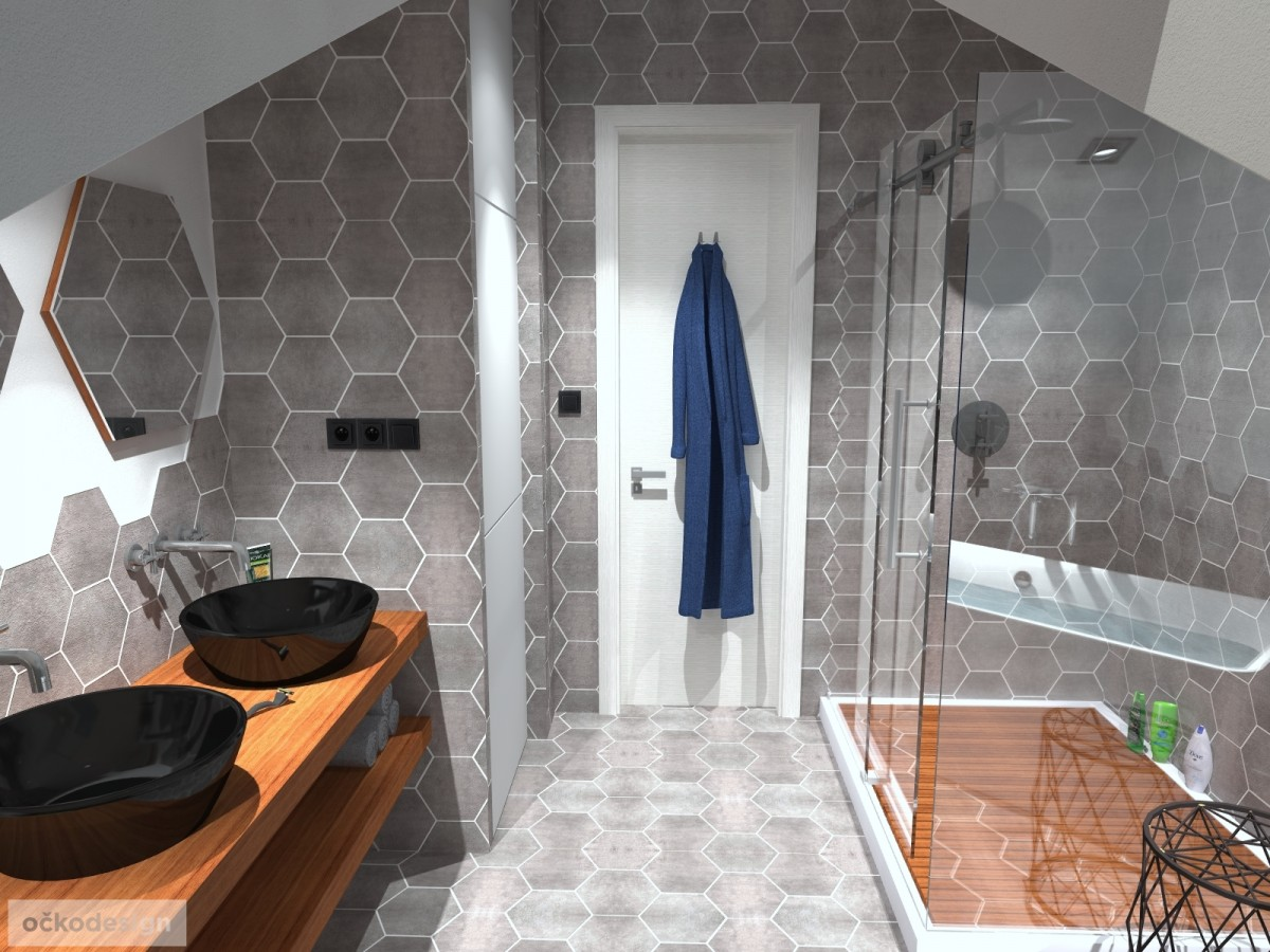 designové koupelny,moderní koupelna,rekonstrukce podkroví, bytový interiérový architekt Brno 6