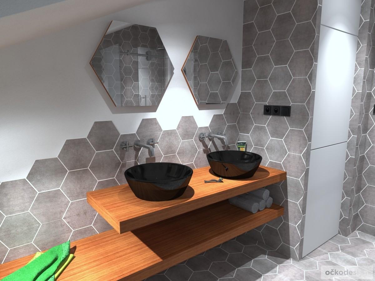 designové koupelny,moderní koupelna,rekonstrukce podkroví, bytový interiérový architekt Brono 5