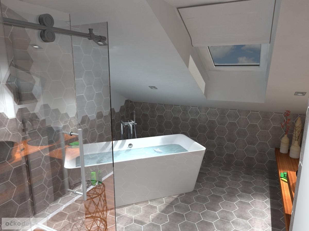 designové koupelny,moderní koupelna,rekonstrukce podkroví, bytový interiérový architekt Praha 1