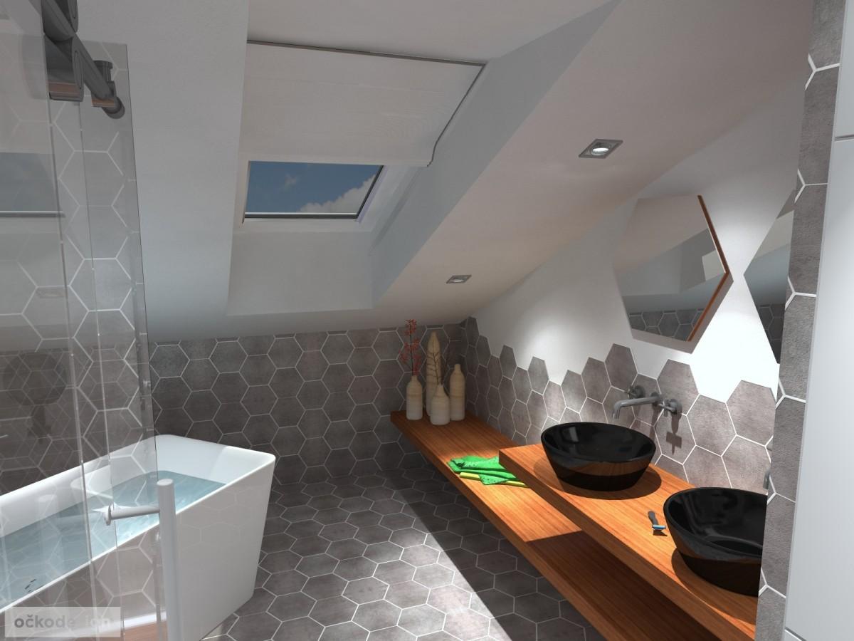 designové koupelny,moderní koupelna,rekonstrukce podkroví, bytový interiérový architekt Praha