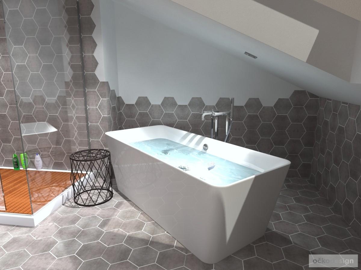 designové koupelny,moderní koupelna,rekonstrukce podkroví, bytový interiérový architekt Praha 2