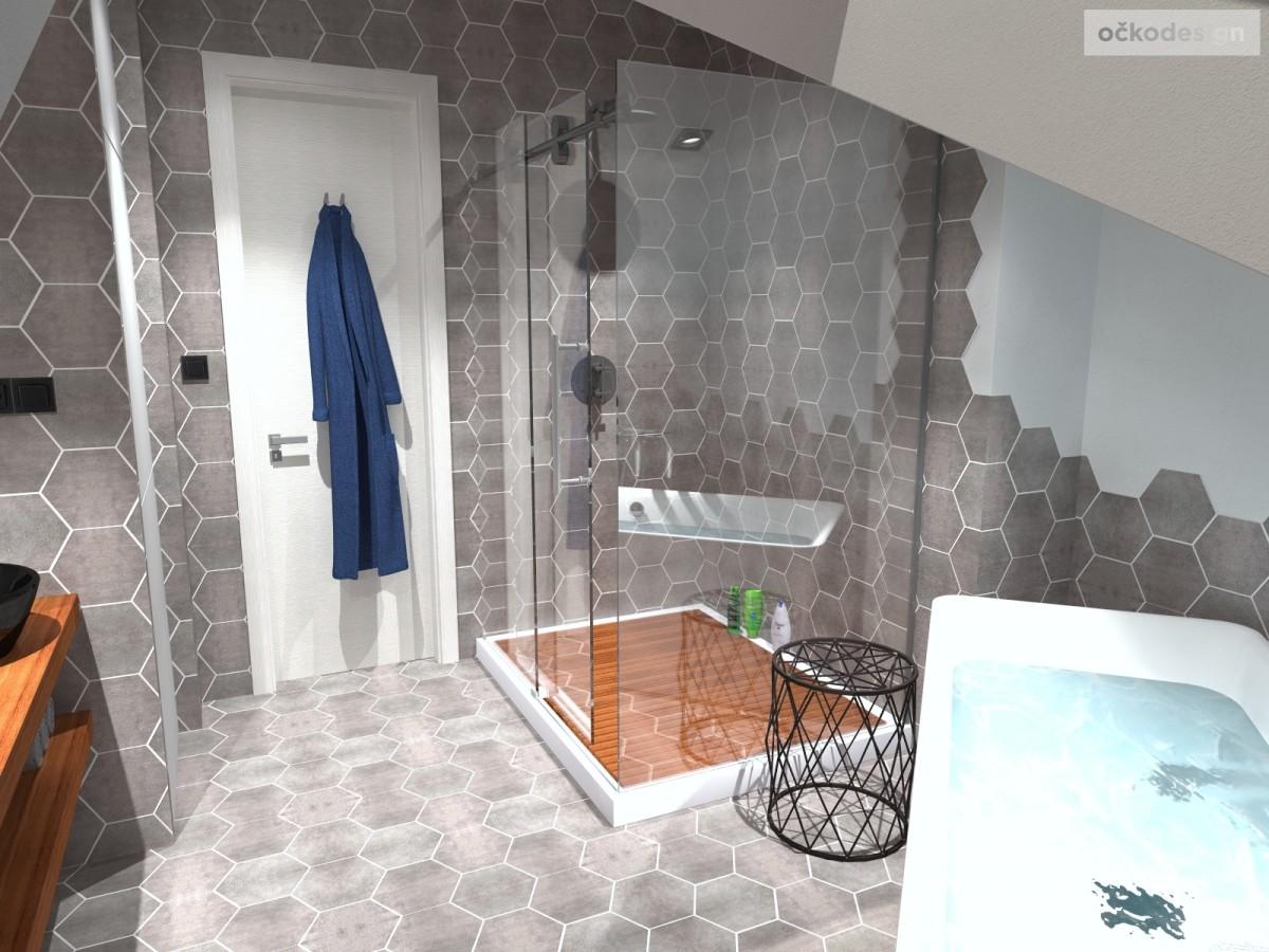 designové koupelny,moderní koupelna,rekonstrukce podkroví, bytový interiérový architekt Praha 3