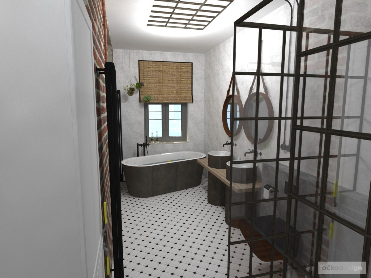 industry interior, industry bath, industriální koupelna, industriální interiéry, interiér na klíč, beton v koupelně, vana na zakázku