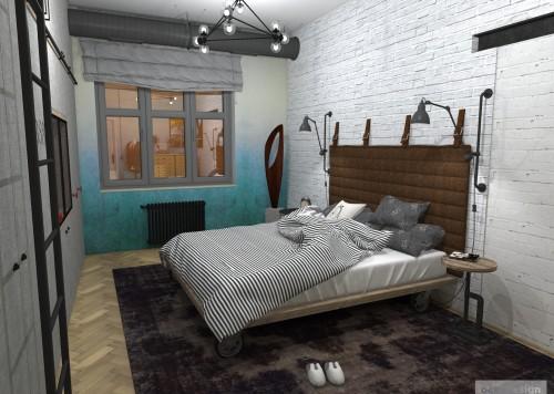 Industriální ložnice, interiér v industriálním stylu, industry interior, industry architecture