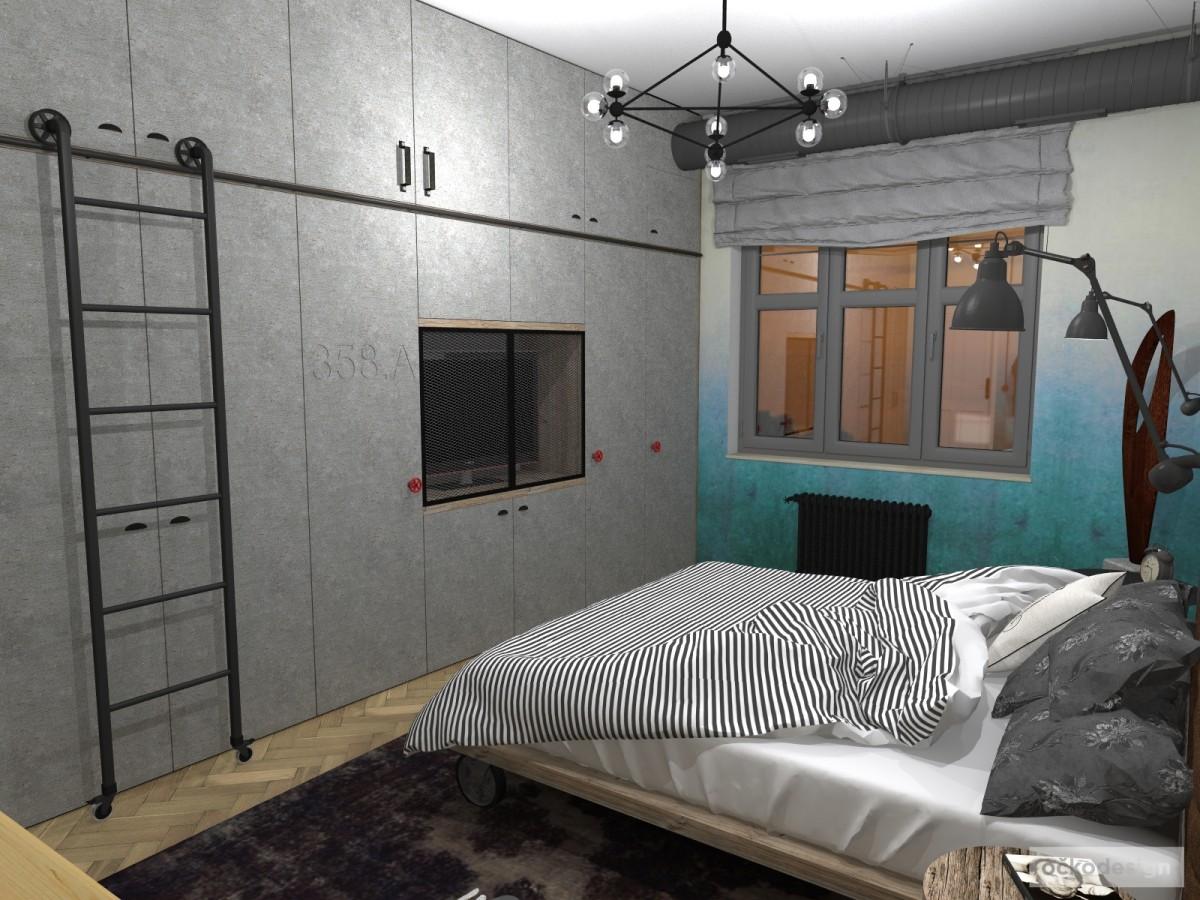 Industriální ložnice, interiér v industriálním stylu, industry interior, industry architecture, návrh ložnice