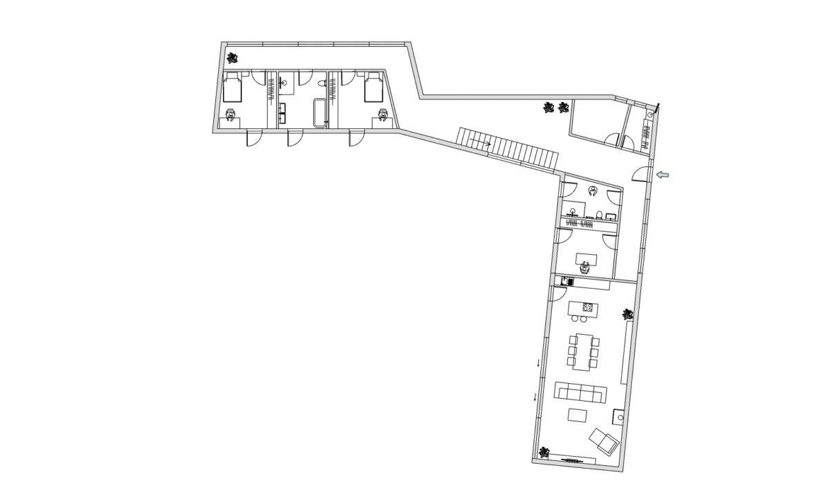 1NP dva dětské pokoje, koupelna pro děti, šatna v zádveří, home office, koupelna, kuchyň s obývákem se zvýšeným stropem
