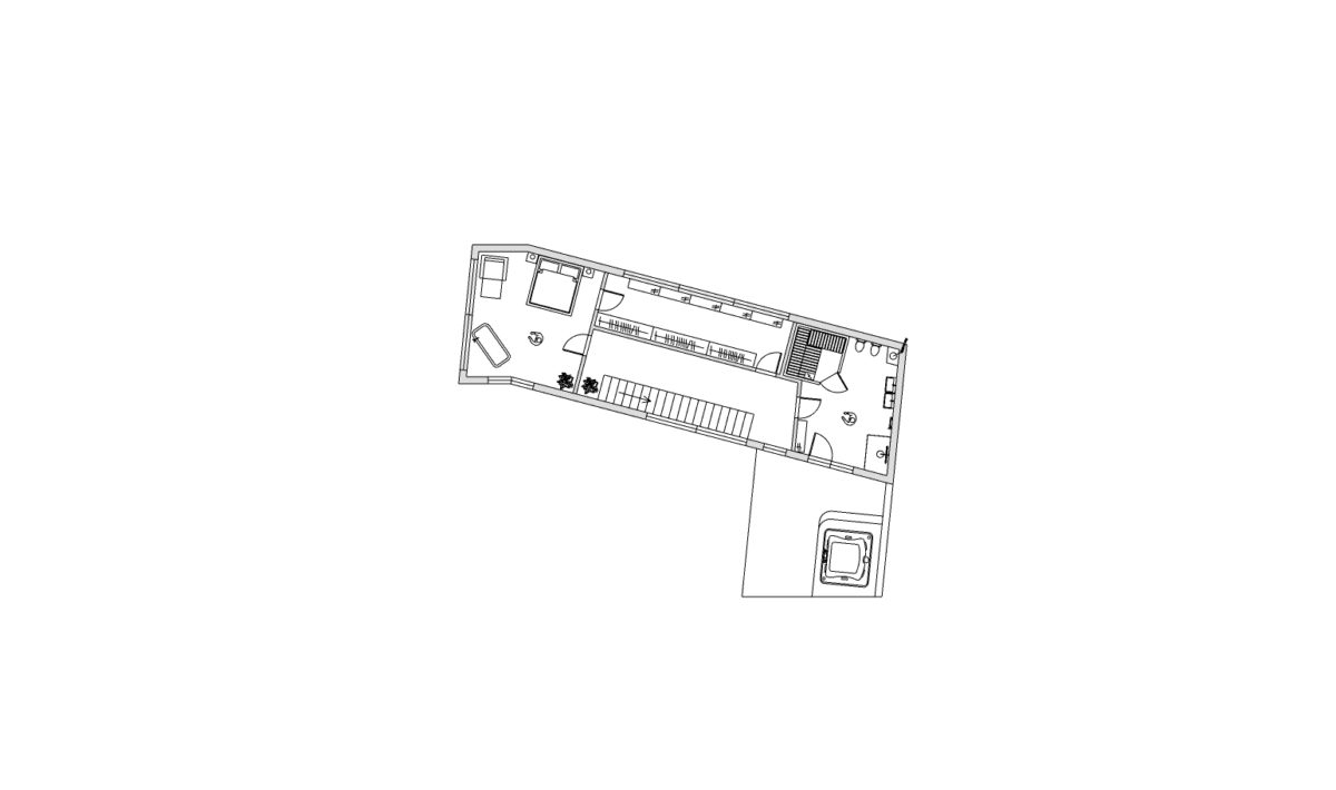 2 NP ložnice, šatna, koupelna, sauna, střešní jakuzzi