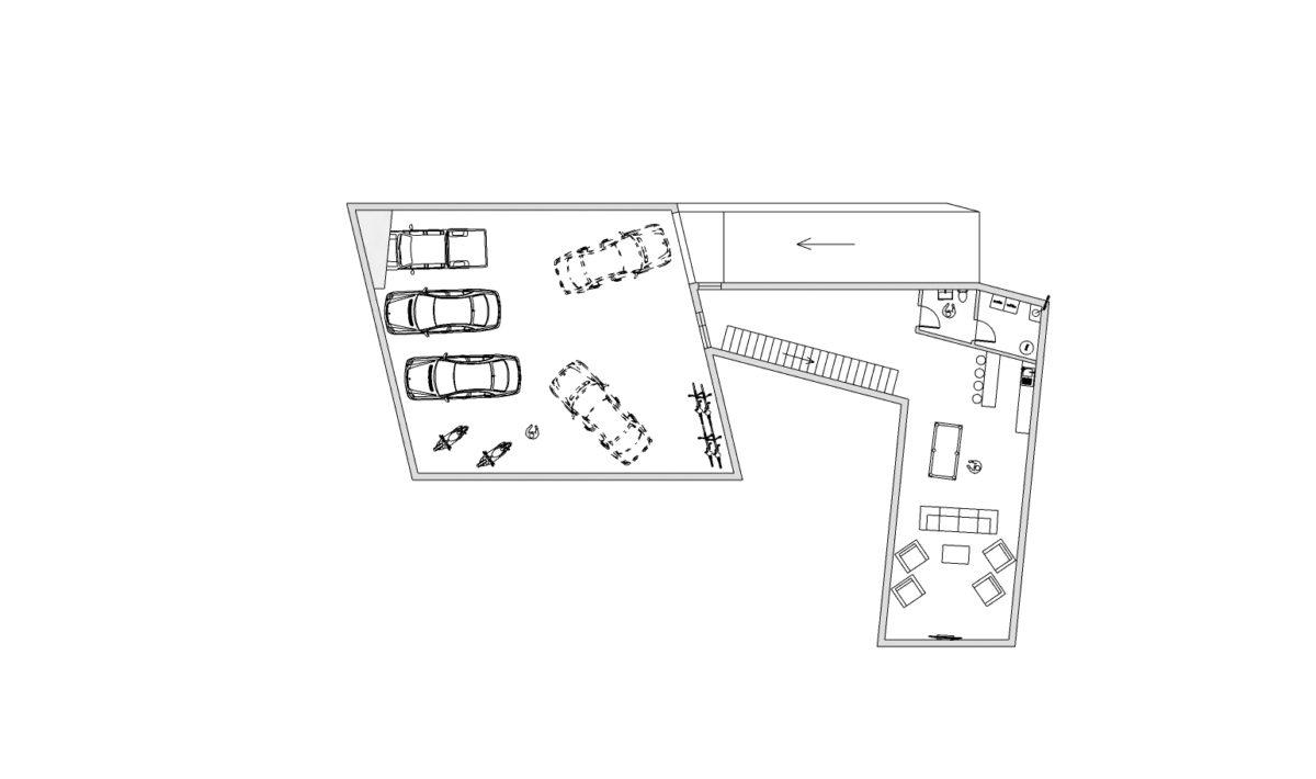 1 PP podzemní parkování technická místnost, domácí kino+bar+erna