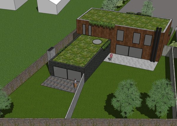 Studie rodinného domu v zahradě, studie dvojdomek, architekt Olomouc, studie rezidenční bydlení, návrh domu