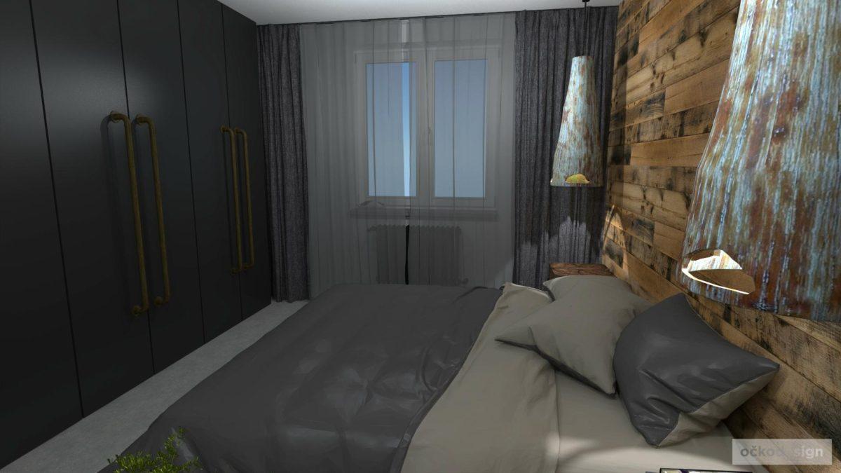 Industriální interiéry, tmavá ložnice, režné zdivo