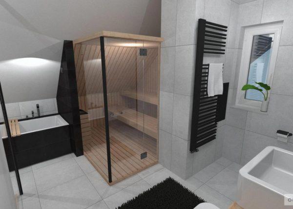 Dřevo v koupelně, šedá koupelna, interiérový design, černobílá koupelna, návrhy koupelen