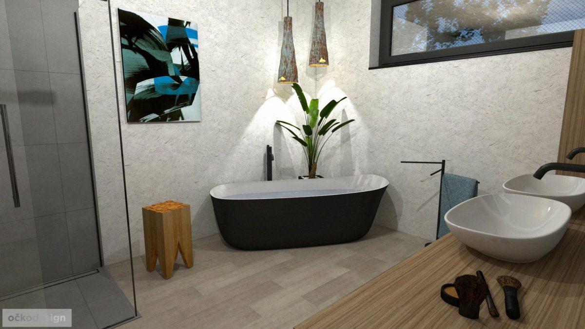 Minimalistická koupelna,volně stojící vana, moderní koupelna,černá vana, vinyl v koupelně, stěrka v koupelně