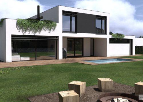 Studie rodinného domu-extenzivní střecha-ohniště v zahradě